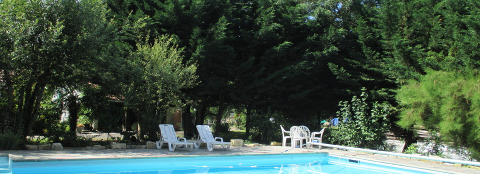 Vue de la piscine avec son coin détente